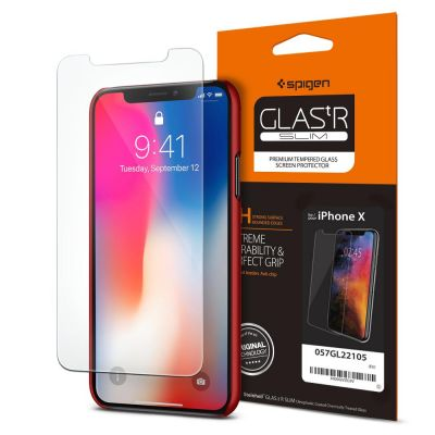 ฟิล์มกระจก SPIGEN iPhone X Oleophobic Coated Tempered Glass : Glas.tR Slim