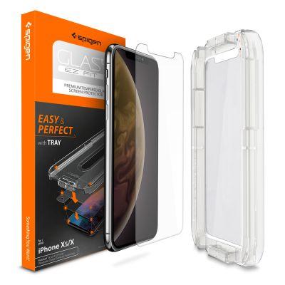 ฟิล์มกระจก SPIGEN iPhone XS/X Tempered Glass : Glas.tR EZ Fit